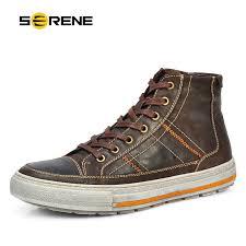 <b>SERENE</b> Brand <b>Men Shoes</b> Nubuck Leather Lace Up Warm Fur ...