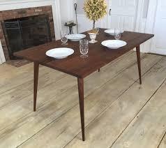 walnut cherry dining: black walnut dining table mid century modern featuring tapered wood legs