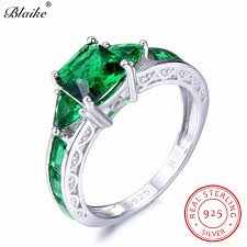 <b>Blaike</b> 100% Real <b>925 Sterling Silver</b> Square Emerald Rings For ...