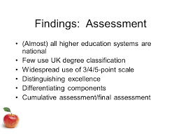 considering the uk honours degree classification system jane w    findings  assessment  almost  all higher education systems are national few use uk degree