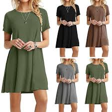 <b>2018 Hot Sale Solid</b> Short Sleeve Plus Size Dress For Women ...
