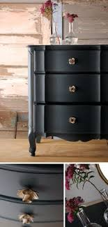 love the petal knobs in gold great against black painted furniture astonishing pinterest refurbished furniture photo