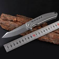 EDC Titanium Handle Folding Camping Knife 9Cr18MoV Blade ...