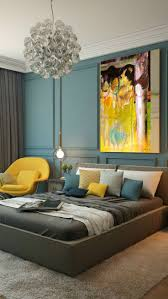 trendy bedroom decorating ideas home design: modern bedroom color interior design trends oversized yellow black and blue painting turquoise walls modern stylish bedroom interior design home