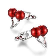 YEYUNTO 1 <b>Pair 2 Pcs</b> Stainless steel <b>red</b> cherries shirt Cufflinks ...
