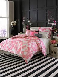 f awesome apartment bedroom design for teenage girls with single bed on black white striped carpet floor be equipped cute pink cordate comforter set bedroom awesome black white