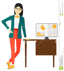 cheerful office clerk stock vector image  cheerful office clerk