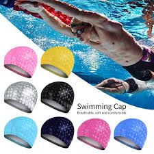 Vertvie 2019 Waterproof Swimming Cap <b>Silicone Rubber</b> colorful ...