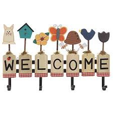 decorative garden design wood welcome sign wall mounted nice wall hanging office organizer 4