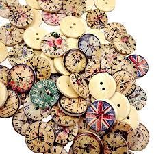 MagiDeal <b>50Pcs</b> Clock Printed Round <b>2 Holes Wooden</b> Buttons for ...