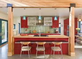 modern blue glass pendant lights over red gloss kitchen island with wooden countertop and bronze undermount architecture kitchen decorations delightful pendant kitchen