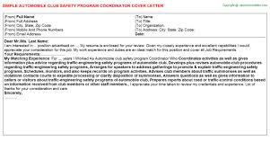 club safety program coordinator cover letter automobile club safety program coordinator cover letter