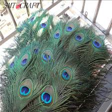<b>Top quality peacock feathers</b> 10 Pcs/lot, length 25-32 CM beautiful ...