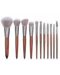 BEAD BEE <b>11 Pcs</b> Sandalwood Eye Brush With <b>Wooden Handle</b> ...
