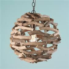 driftwood ball pendant light beach theme lighting