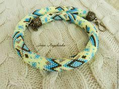 Blue crochet beaded rope necklace - <b>Aqua</b> beadwork necklace ...