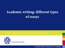 kinds of essaysfor our academic writing purposes we will focus on four types of essay  theexpository essay can also be used to give a personal response to a world event