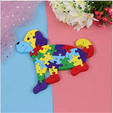 children toys dog wooden assembled <b>puzzle</b> alphanumeric ...