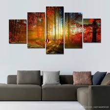 Wall Art Sets For Living Room 5 Panel Forest Painting Canvas Wall Art Picture Home Decoration