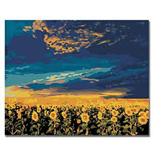 <b>RIHE DIY</b> Oil Painting by Numbers -Sunflower Vast- PBN Kit for ...