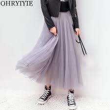 OHRYIYIE <b>2019 Autumn</b> Winter Vintage Skirts Womens Elastic <b>High</b> ...