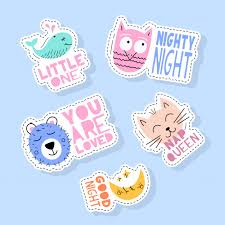 <b>Set</b> of <b>cute animals</b> stickers, pins, <b>patches</b> and handwritten collection ...