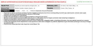 receivable resumes   supervisor accounts receivable