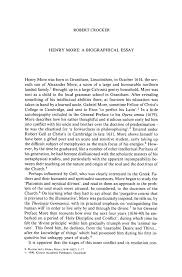 biographical essay henry more a biographical essay springer