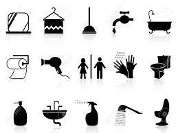 vector isolated bathroom icons set from white background bathroom shower toilet