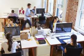 wide angle view of busy design office with workers at desks business office modern