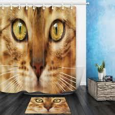 Cat Face Fabric <b>Waterproof Bathroom Shower Curtain</b> 12Hooks 180 ...