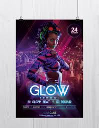 glow and neon party psd flyer template to glow and neon is