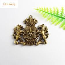 <b>Julie Wang 5PCS</b> Antique Bronze Lion Guardian Badge Charms ...