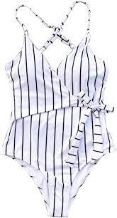 CUPSHE <b>Women's</b> Stay Young <b>Stripe</b> One-Piece Swimsuit <b>Beach</b> ...