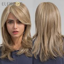 Element Synthetic <b>Long Straight</b> Hair Light Brown Mix Blonde Wigs ...