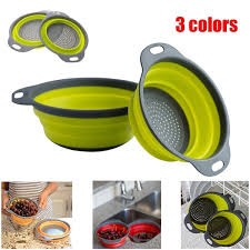 New Kitchen Collapsible Silicone Colander <b>Fruit Vegetable</b> Strainer ...