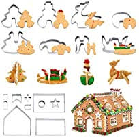 <b>3D Christmas</b> Cookie Cutters (<b>18PCS</b>), Gingerbread House Cookie ...