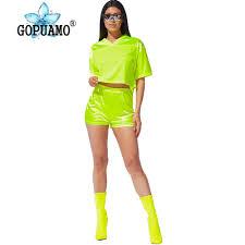 AliExpress <b>Neon Green Mesh Patchwork</b> Two Piece Outfit Women ...