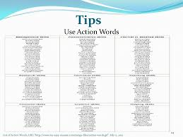tips use action words list