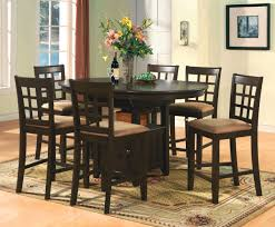brown wood counter height dining table chairs
