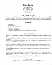 professional police records clerk templates to showcase your    resume templates  police records clerk