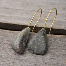 Grey <b>Green</b> textured triangle earrings, pebble earrings, <b>raw stone</b> ...