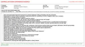 controller cv work experience   controller    resume