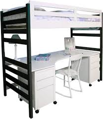 Snow Series Loft With Home Office U0026amp Black Bed Ends