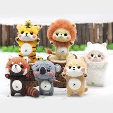 <b>Jiwuo</b> Rabbit bear shiba inu Toy Doll <b>Wool Felt</b> Poked Craft DIY Non ...