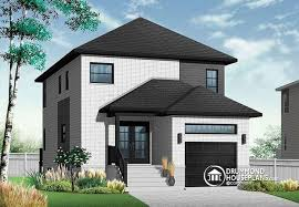 House plan W detail from DrummondHousePlans comfront   BASE MODEL European contemporary bedroom   garage for narrow lots   Stanton