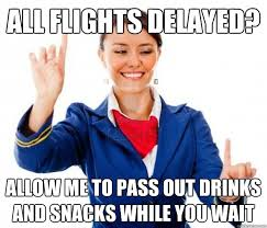 all flights delayed? allow me to pass out drinks and snacks while ... via Relatably.com