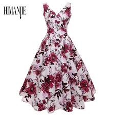 <b>S 2XL Floral Print</b> High Waist Vintage Dress <b>Women</b> 2018 Summer ...