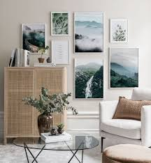 <b>Elegant</b> gallery wall in earthy colours with <b>white wooden</b> frames ...