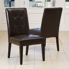 Tufted Dining Room Sets Tufted Leather Dining Chairs Dark Brown Finish Brown Leather